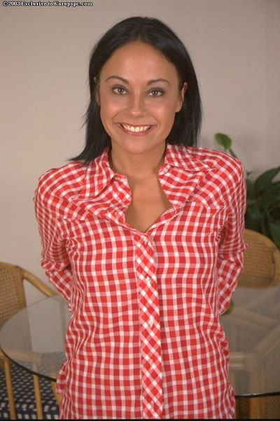 Tanned angel with miniscule boobies Arlyn is showing off in her red shirt