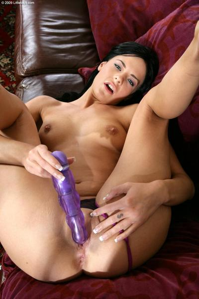 Black haired princess Aliz Purple toys her flexible pussy and gives a close-up view of her tits