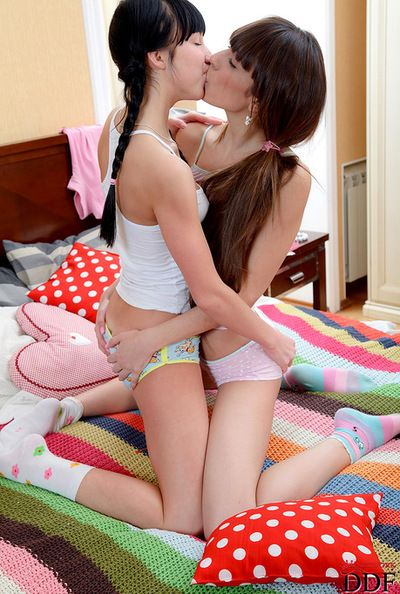 Slender dark hair gets bonked in the ass during adorable lesbian show
