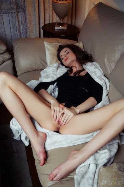 Erotic youthful Loretta A expanding her legs for solo masturbation