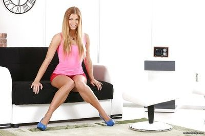 European young solo dear Chrissy Fox shows off sexy legs in heels and short skirt