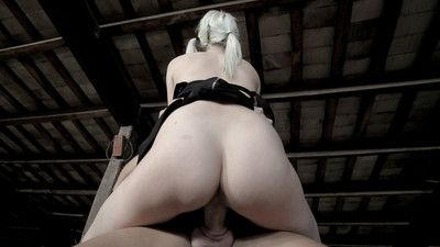 Golden-haired young Liz Rainbow undergoes face very and spit roasting in groupsex
