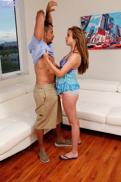 Elegant adolescent Brooke Lynn blowing cock & getting dug doggystyle by mature daddy
