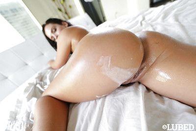 Oiled Latina chicito amateur Keisha Grey sporting spunk on round ass after a-hole smokin\