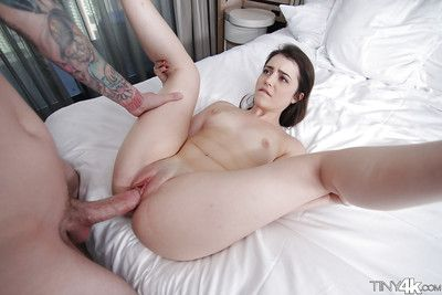Brown hair adolescent Kylie Quinn taking sperm stream exactly after bald twat banging