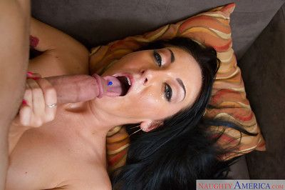 Magnificent dark brown Nicole Aniston receives sperm in her wide mouth