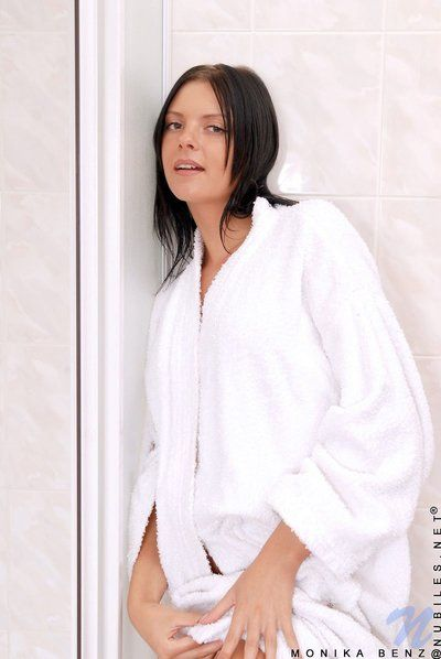 Dark haired tight hotty Monika Benz soaps and showers her hairless teen cum-hole