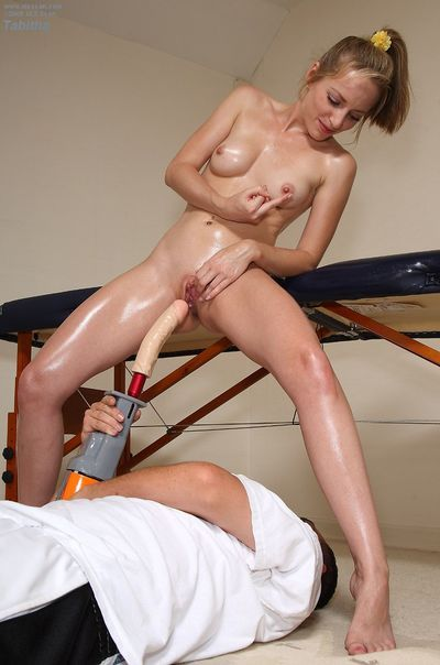 Oiled up tight girl Tabitha Tucker attains her shaved pussy owned with drilldo after relaxing massage