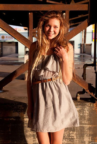 Juvenile Jessie Andrews fond of to pose in sensual outdoor scenes and let her underwear reveal