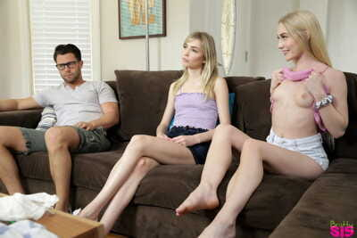 Stepsisters Emma Starletto & Mackenzie Moss take part in a hardcore threesome