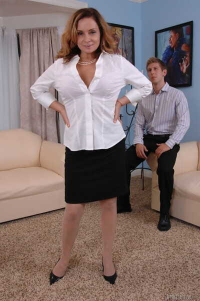 Busty mature Rebecca Bardoux teases her son-in-law with sticky panty upskirt