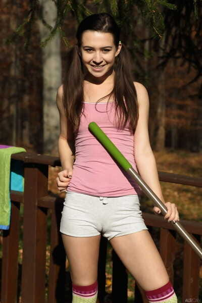 Splendid petite brown hair Ariel Grace abuses her sexy camel toe with toys
