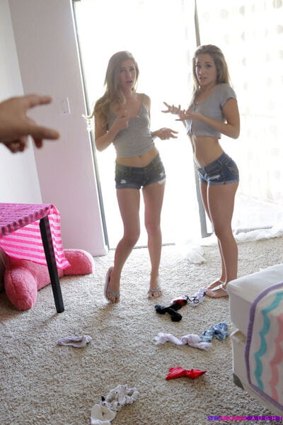 Mouth to mouth teen girls Sydney Cole and Kimmy Granger undress for threesome sex