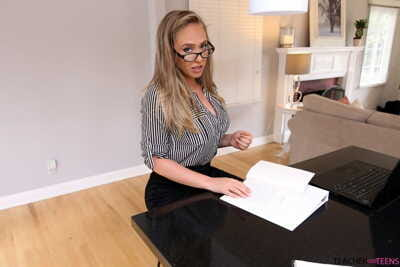 Hot secretary Kagney Linn Karter succumbs to bosss hunger for POV fuck & BJ
