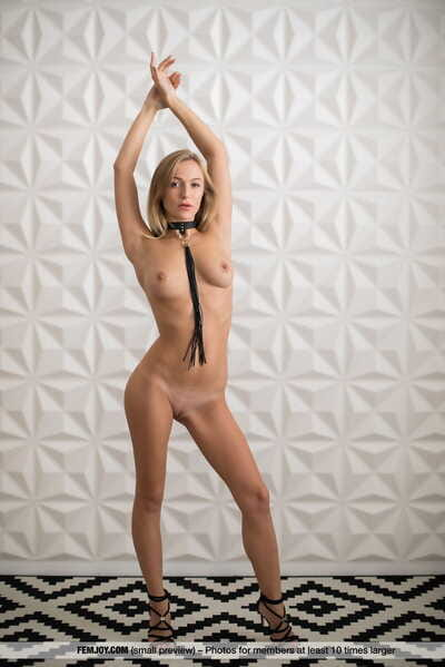 Teen blonde Vika P wears a collar and leash even as posing as mother gave birth in heels