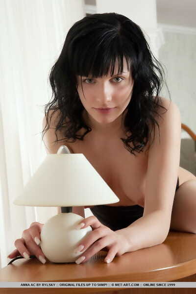 Pete fresh gal Anna AC removes clothes down and divulges her tight slit