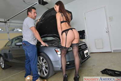 Horny wife Aidra Fox seduces the mechanic as this guy plows on fixing her car