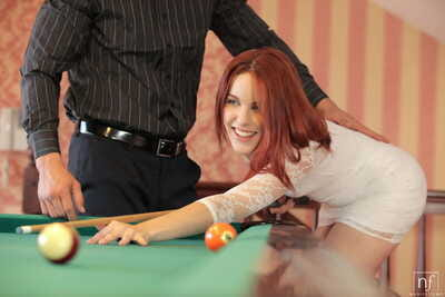 Untamed redhead slut Amarna Miller receives mouth job & fucks on the pool table