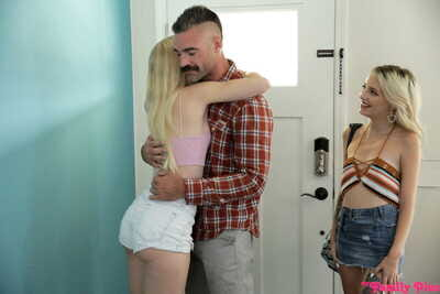 Young blonde pretties Kate Bloom & Emma Starletto get bonked by each others father