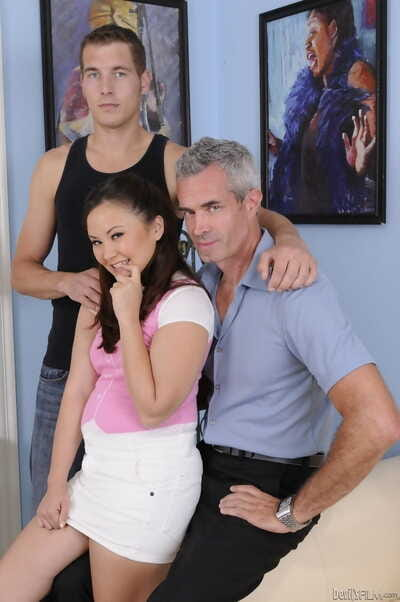 Naughty Japanese woman Kita Zen gains sandwiched among father and son