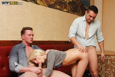 Blond amateur getting spit roasted in MMF threesome before taking cum on face