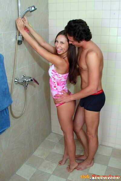 Perspired teen takes a cumshot on tongue subsequently astonishingly in the bathroom