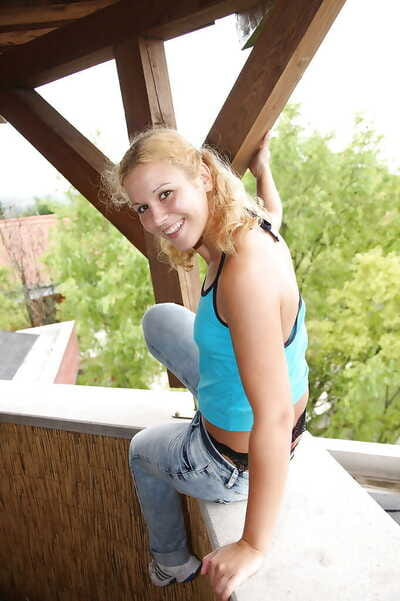 Horny fairy teen beauty Gloria B toying her trimmed snatch outdoor