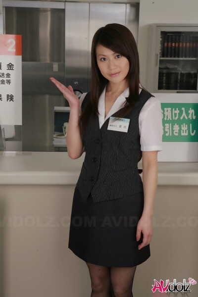 Japanese sales clerk Hina Aizawa rips available her pantyhose at work