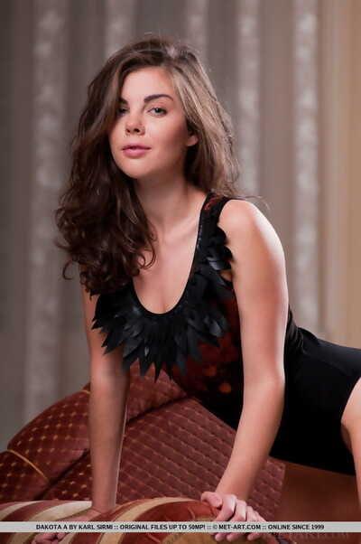 Erotic model Dakota A undressing hot lingerie to bare useful bumpers & bald twat
