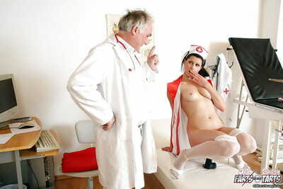 Sweet nurse is showing her beautiful caboose to horny oldman
