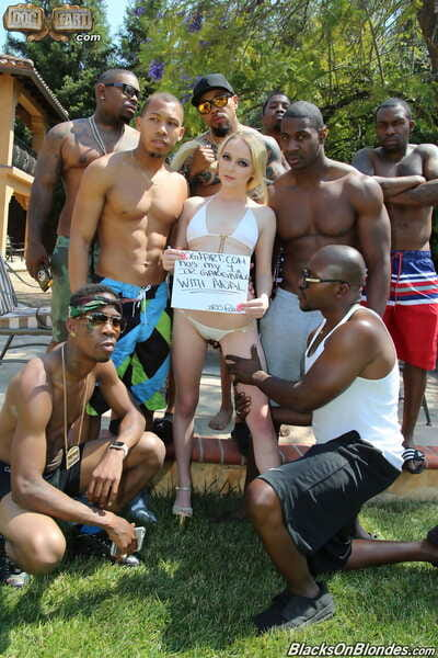 Sweet golden-haired broad Iris Rose gives her holes to many black males poolside
