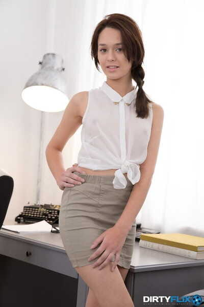 Secretary Kastiel Cherry in distinguish thru shirt gets face basted in office 3some