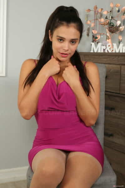 Fabulous adolescent in a pink dress Violet Starr crams her vagina with a sex-toy