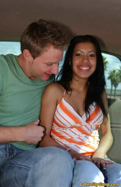 Slutty teenage latin cutie Monica Raiders blows a big boner in the car