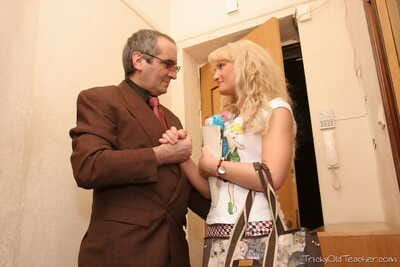 Blonde college girl Lorraine is tricked admires hardcore sex with old professor