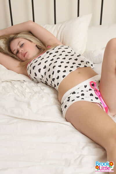 Mammoth titted darling Brook Little sheds her pajama top to free her largest melons