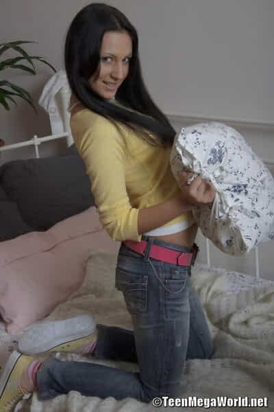 Darksome haired teen Mercedes takes an reachable jaw stream of cum after being arse bonked