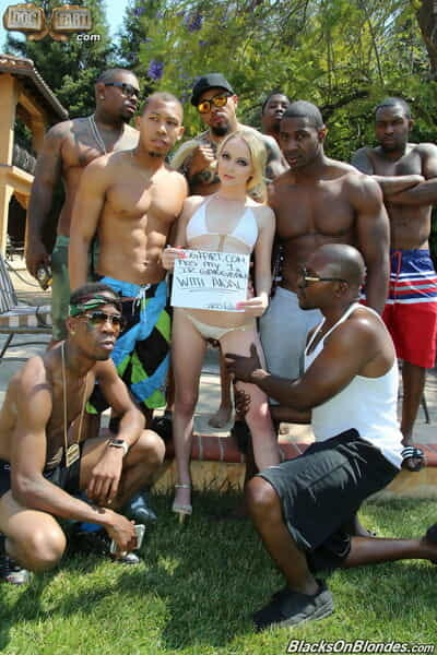 Marvelous blonde broad Iris Rose gives her holes to numerous swarthy dudes poolside