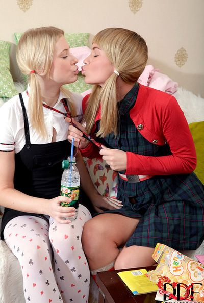 Fairy hotties are having fun masturbating one another with huge gear cock