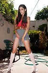 Horny teen loves posing so sensual into that outdoor solo action