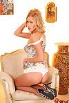 Classy blonde playgirl in awesomely arousing lingerie stuffs herself well with a pine for dildo toy
