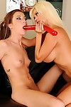 The boss lady dominates a cute infant lesbian and obtains her cum-hole worshiped