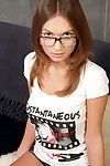 Hot nerd juvenile in glasses shoves a gigantic apparatus in her tight enter gate