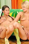 Naughty babes are sharing toys in amazingly hot lesbian softcore act