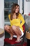 Leggy sweet beauty Mia Ross puts 2 sex tools at once in her neat hungry pussy