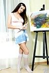 Sweetie teen Anastasia Fresh chicks in knee-length socks presenting her fresh pussy and perky sweet boobies.