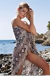 Blond European Edwige A stretching legs on beach to bare perfect teen uterus