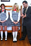 Four lusty teens in school uniform sharing one bulging weenie
