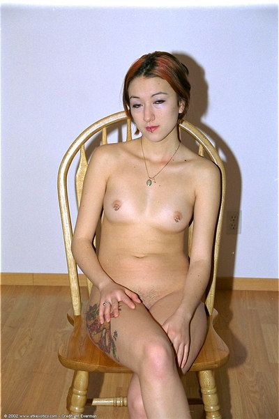 Baked Oriental infant Hazel depilation unshaved cunt to shiny on top perfection