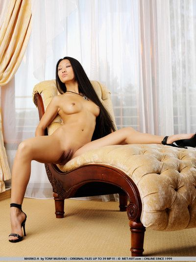Hairless hope haired Japanese juvenile cutie in heels Mariko A shows off her without clothes inflexible body
